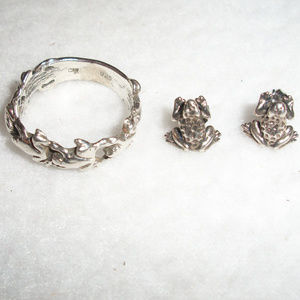 Jewelry - Sterling Silver 925 Lot FROG Ring & Earrings
